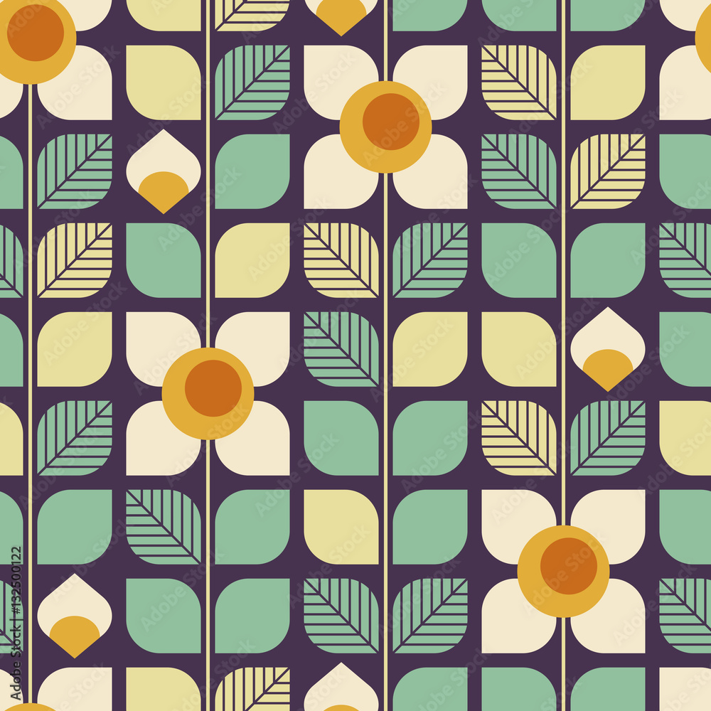 seamless geometric retro pattern with leaves and flowers