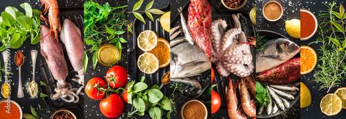 Leinwand Poster collage ingredienti per pesce alla griglia