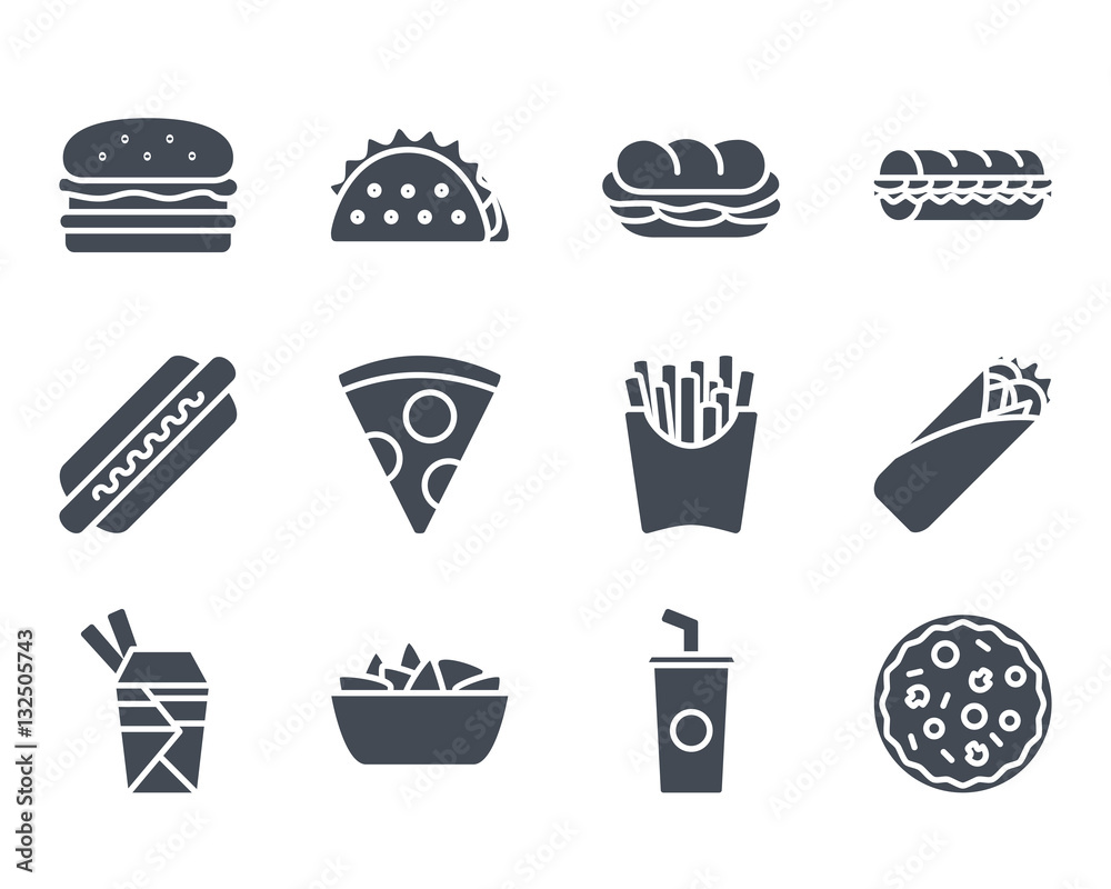 Fototapety, obrazy: Fast Food Icon Silhouette