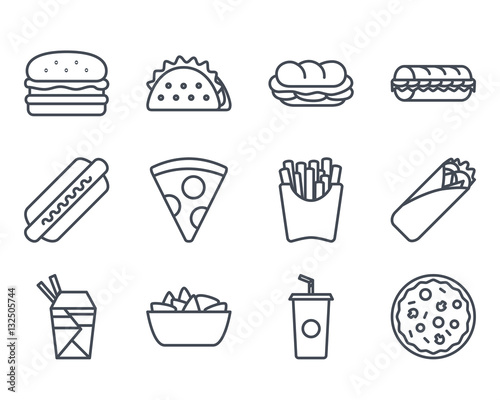 Snack Fast Food Icon Outlined
