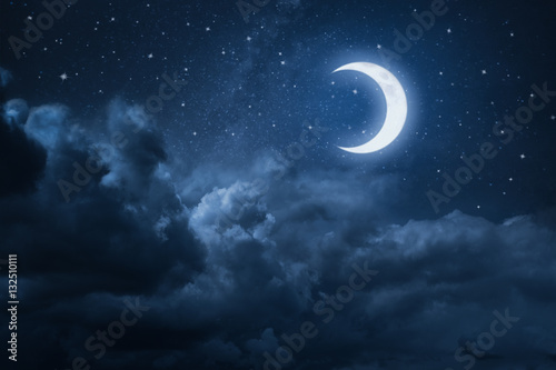 Poster de jardin Nuit Skyscape at Midnight with moonlight