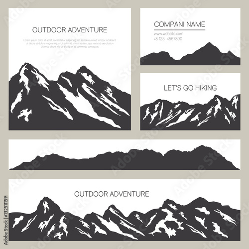 Mountains silhouettes on white background outdoor cards design set mountains silhouettes on white background outdoor cards design set of stylish business card templates reheart Images