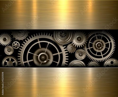 Background metallic gears, vector shiny metal design.