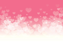 Vector Of Happy Valentines Day With Blinking Heart And Pink Background Design.