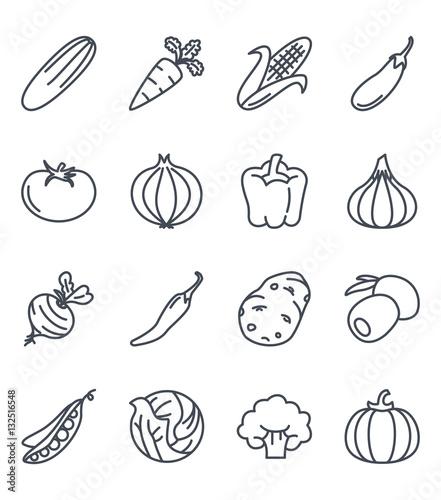 Fotografie, Obraz  Vegetables Food Icon Outlined