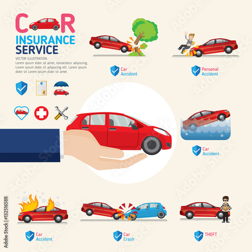 Foto op Canvas Op straat Car insurance business service icons template. Can be used for workflow layout, banner, diagram, number options, web design, timeline, info graphics.Vector illustration.