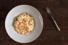 Fettucine Alfredo With Shrimps