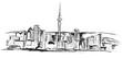 Panorama miasta Oakland. Rysunek ręcznie rysowany na białym tle.