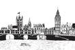 Panorama Londynu. Rysunek ręcznie rysowany na białym tle.