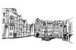 Panorama miasta Poznań. Rysunek ręcznie rysowany na białym tle.