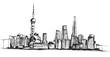 Panorama miasta Szanghaj. Rysunek ręcznie rysowany na białym tle.