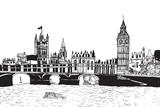 Fototapeta Londyn - Panorama Londynu. Rysunek ręcznie rysowany na białym tle.