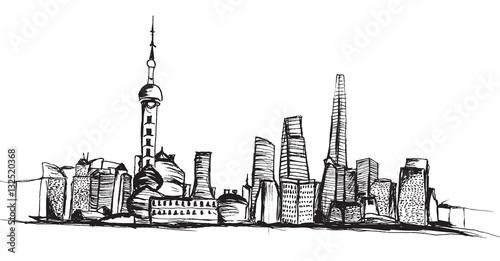 Fototapeta Panorama miasta Szanghaj. Rysunek ręcznie rysowany na białym tle. obraz