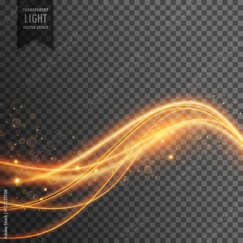 Fototapety, obrazy: light effect of golden light waves with sparkles