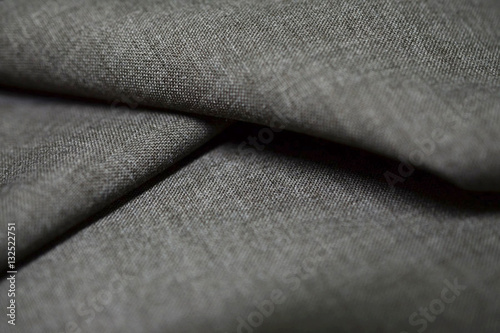 Tuinposter Stof close up texture dark gray fabric of suit