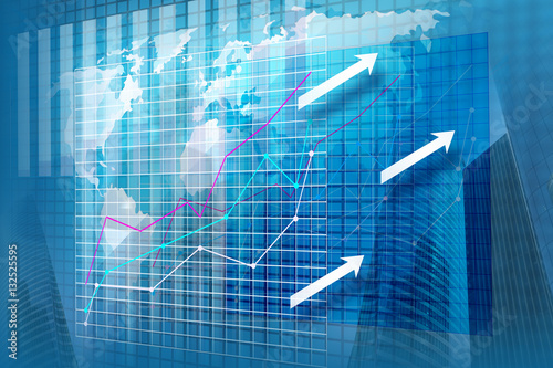 Fototapeta Statystyka finansowa - wizualizacja przestrzenna na ekranie obraz