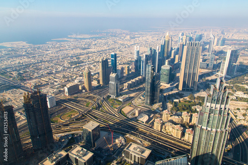 Tuinposter Panorama and aerial view of downtown Dubai in a summer day, Unit