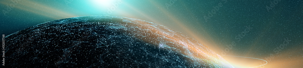 Fototapety, obrazy: Global International Connectivity Background/Connection lines Around Earth Globe, Futuristic Technology  Theme Background with Light Effect, 3D illustration
