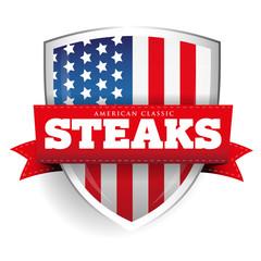 Fototapeta Do steakhouse Steaks vintage shield with USA flag