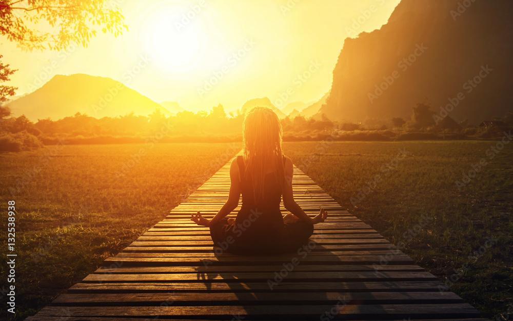 Fototapety, obrazy: serenity and yoga practicing at sunset, meditation