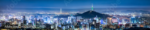 Photo Seoul Skyline Panorama bei Nacht