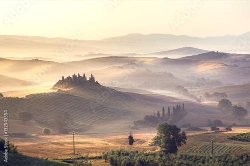 Fotografie, Obraz  Tuscany landscape at sunrise
