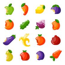 Bitten Fruits Vector Set.