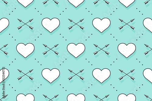 Materiał do szycia Wzór z serca, strzałki na Walentynki, miłośników dzień lub ślubnej. Ręcznie rysowane projekt dla miłości związane tematy papier pakowy, Tapety, tła, karty z pozdrowieniami. Ilustracja wektorowa