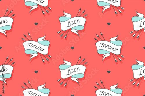 Materiał do szycia Wzór z wyrazami miłości i na wieki na Walentynki, miłośników dzień lub ślubnej. Ręcznie rysowane projekt w Love theme dla papieru do pakowania, opakowań, Tapety, tła. Ilustracja wektorowa