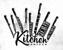 Meat Cutting Knifes Poster Chalk