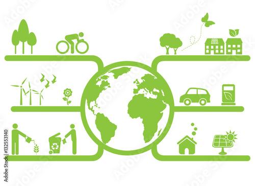Fotografie, Obraz  Green Planet Symbols