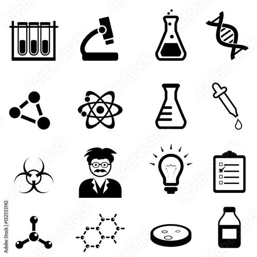 Fotografie, Obraz  Chemistry, biology science icon set