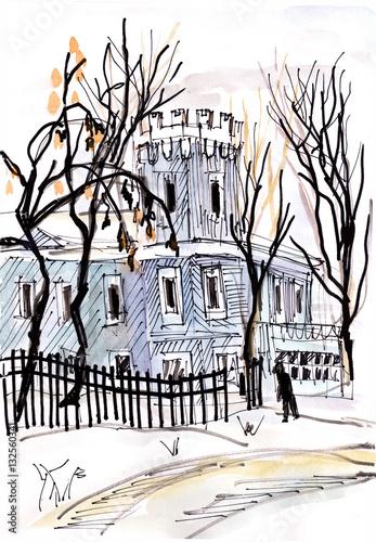 Deurstickers Illustratie Parijs Winter landscape