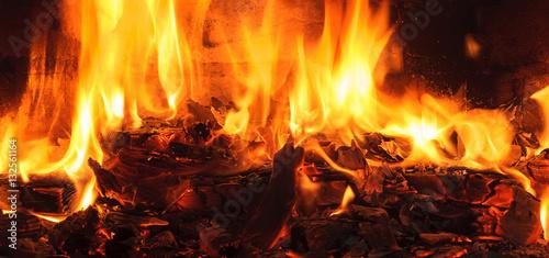Fotografie, Obraz  Firewood beautifully lit in the fireplace