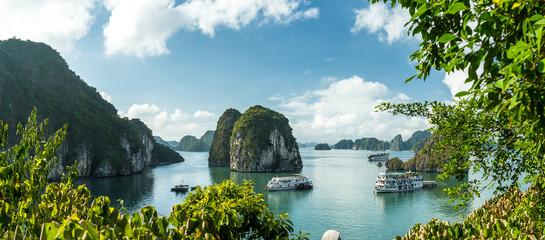 View over Ha Long Bay. View over Ba Tu Long Bays iconic limestone mountains, with cruise ships. Taken near Ha Long, Vietnam.