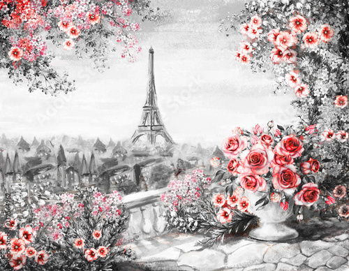 Staande foto Parijs Oil Painting, summer in Paris. gentle city landscape. flower rose and leaf. View from above balcony. Eiffel tower, France, wallpaper. modern art. Black, white and red