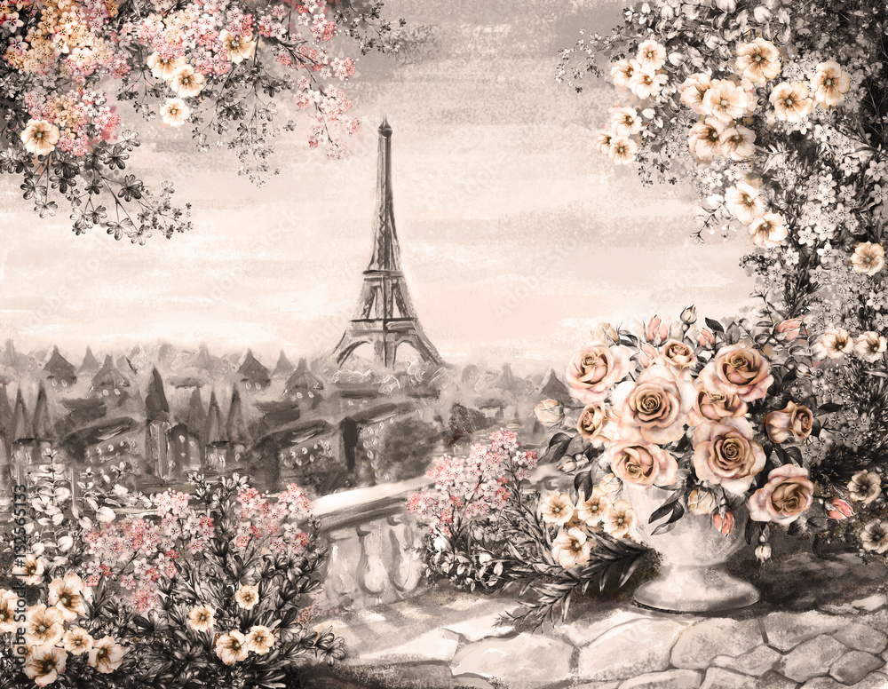 Oil Painting, summer in Paris. gentle city landscape. flower rose and leaf. View from above balcony. Eiffel tower, France, wallpaper.watercolor modern art. Sepia color