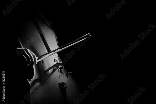 Vászonkép Cello player cellist hands with bow