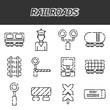 Railroads icons set