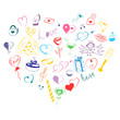 Hand Drawn Set of Valentine's Day Symbols. Children's Funny Doodle Drawings of Colorful Hearts, Gifts, Rings, Balloons Arranged in a shape of Heart. Sketch Style. Vector Illustration.