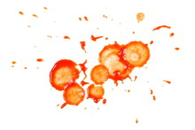 Red Ketchup Splashes Isolated On White Background, Tomato Puree Texture