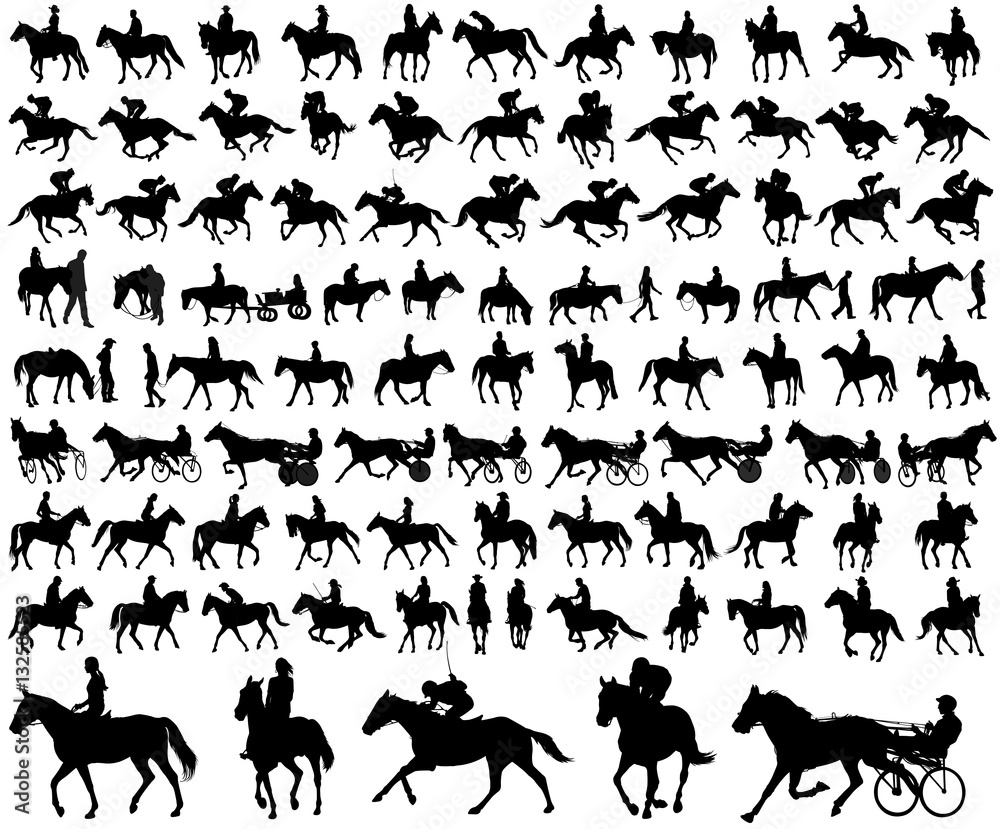 Fototapety, obrazy: people riding horses silhouettes collection - vector