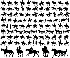 people riding horses silhouettes collection - vector