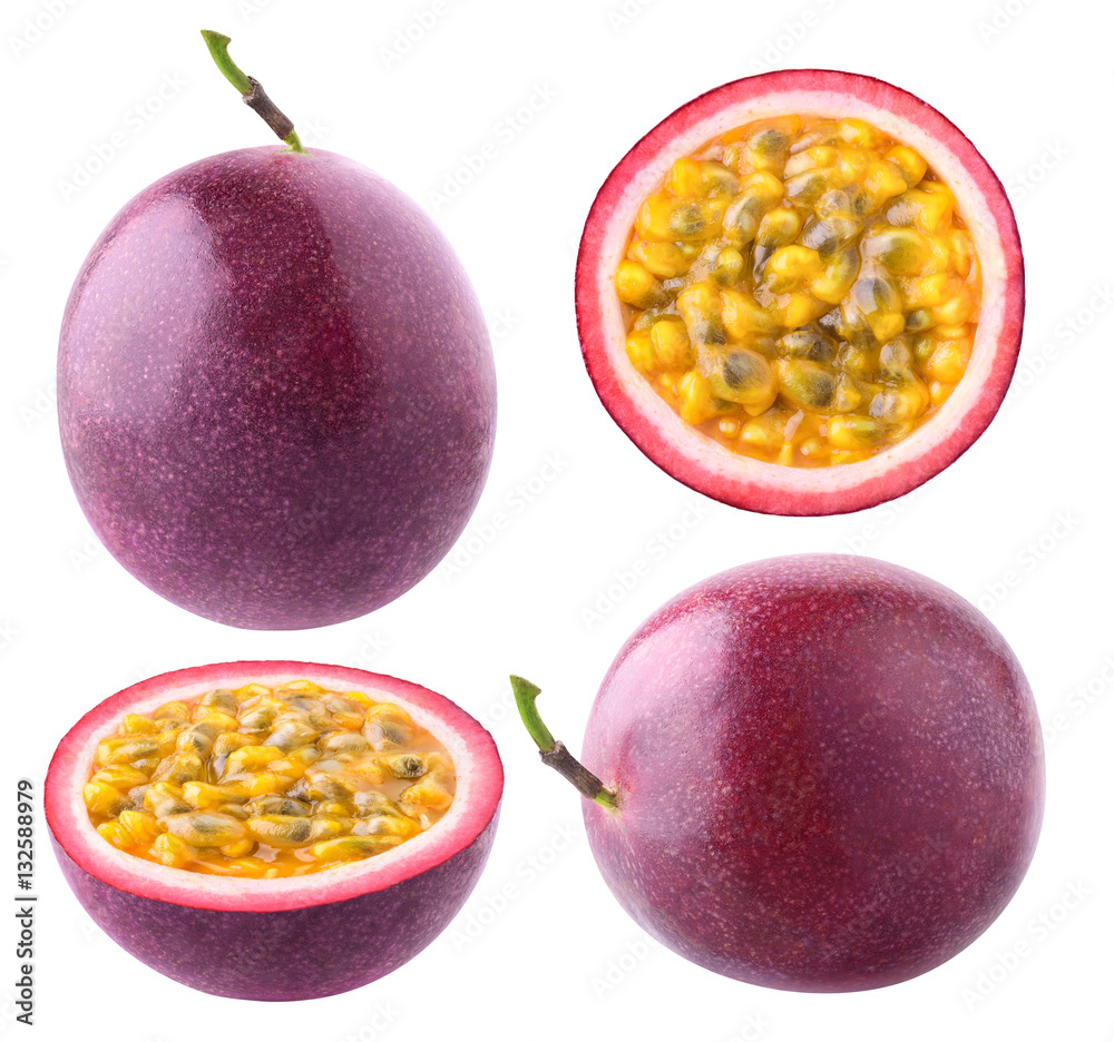 Fototapeta Isolated passionfruit. Collection of whole and cut passion fruits (maracuya) isolated on white background with clipping path