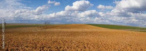 Fotobehang Platteland Paisaje Panoramico de Campos con Barbechos y Cultivos y Cielo con Nubes Algodonosas