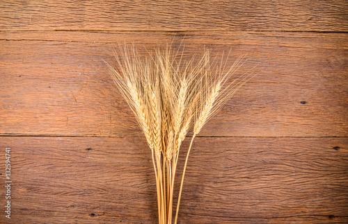 Photo sur Aluminium Pissenlits et eau Barley grain on wooden table
