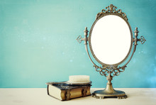 Old Vintage Oval Mirror And Woman Toilet Table