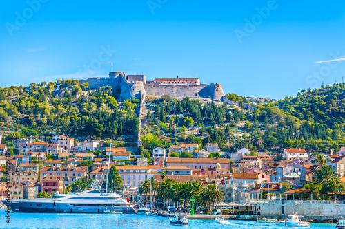 Foto op Aluminium Bergen Hvar Croatia town. / Seafront view at Hvar town, famous luxury european summer resort in Croatia.
