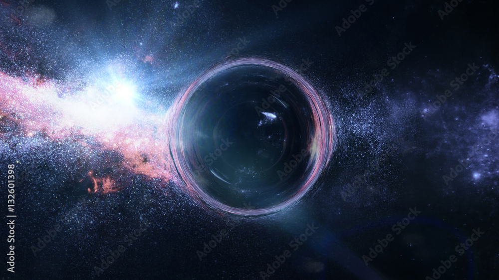 Fototapeta black hole with gravitational lens effect in front of bright stars  (3d illustration, Elements of this image are furnished by NASA)