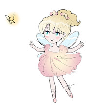 Cute Fairy Dancing Girl, Little Ballerina. Vector Illustration